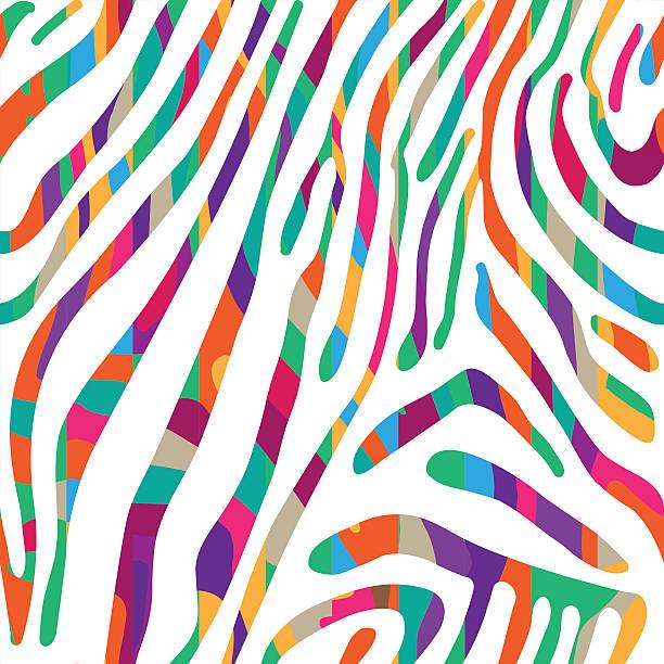 hintergrund mit farbenfrohen zebra haut muster - zebras stock-grafiken, -clipart, -cartoons und -symbole