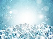 Background with lots of cubes of transparent ice. Highly detailed realistic illustration.