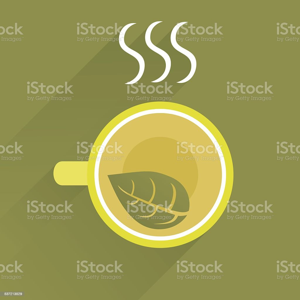 Background With Cup Of Green Tea vector art illustration