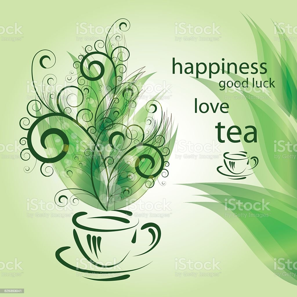 background with cup of tea vector art illustration