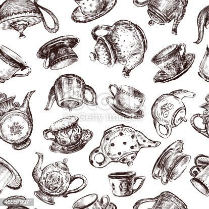 istock background with cups and teapots 455579971