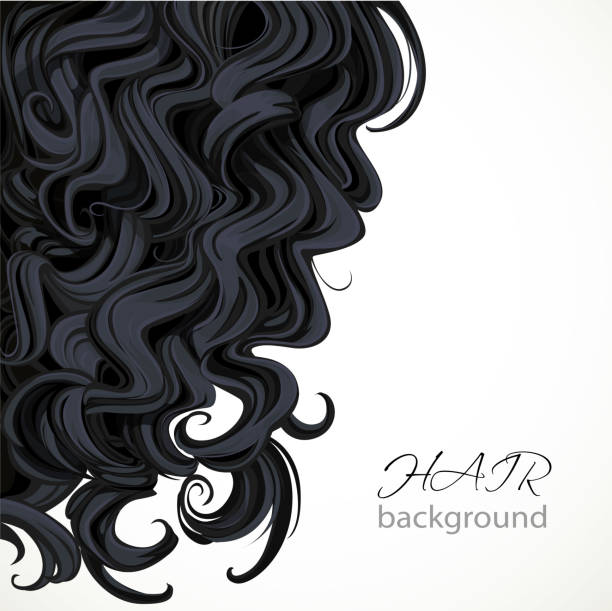 stockillustraties, clipart, cartoons en iconen met achtergrond met krullend bruin haar - golvend haar