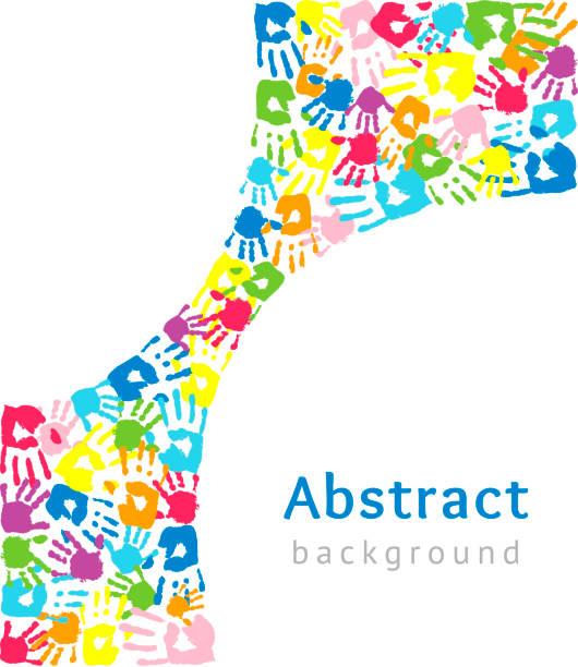 色付きの手で作られた湾曲した形状を持つ背景。抽象ベクトルイラスト - 保育点のイラスト素材/クリップアート素材/マンガ素材/アイコン素材