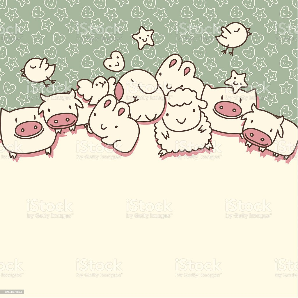 Background with cute cartoon animals royalty-free stock vector art
