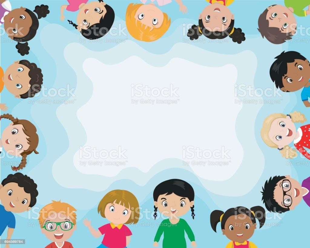 Plano de fundo com crianças bonito dos desenhos animados. - ilustração de arte em vetor