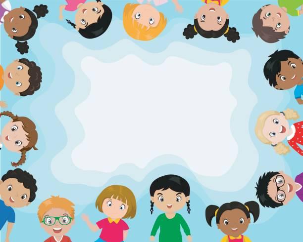 ilustrações, clipart, desenhos animados e ícones de plano de fundo com crianças bonito dos desenhos animados. - dia das crianças