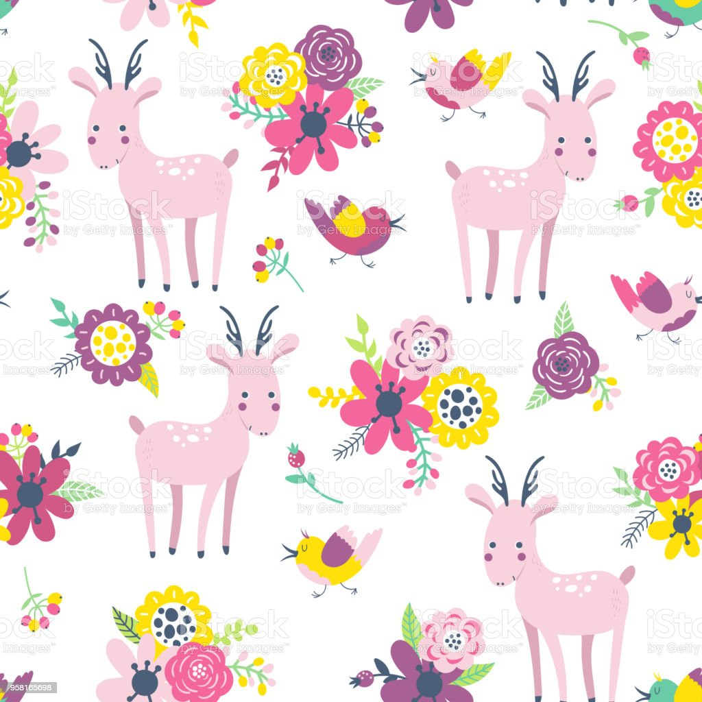 Background With Cute Deer And Flowers Stock Illustration Download Image Now Istock