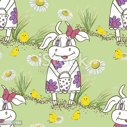 Background with cute hand drawn cartoon cow.