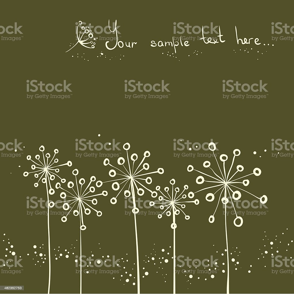 background with dandelions or cumin royalty-free stock vector art