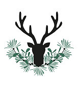 Vector illustration of deer antlers with mistletoe. Christmas card