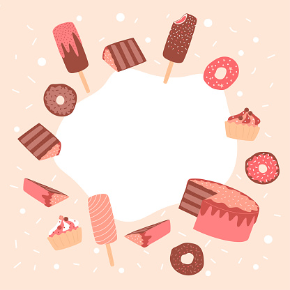 Background with delicious desserts big collection of objects. Cute candies, cupcakes, ice cream, donut, sliced pieces of chocolate cake.