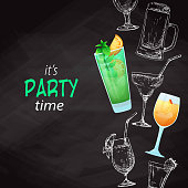 Background with different cocktails. Drawing chalk on a blackboard. Caption: it's party time. Place on your text. Vector illustration