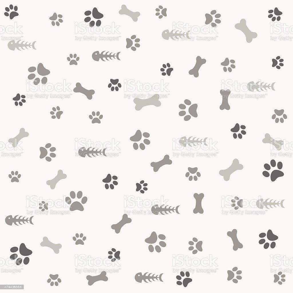 背景に犬のプリントと骨の動物の足 のイラスト素材 474436584 | istock