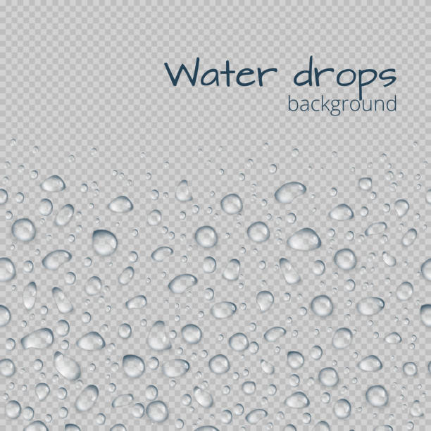 Background with drops of water Horizontal seamless border of transparent water droplets. Editable vector illustration with space for text. glossa stock illustrations