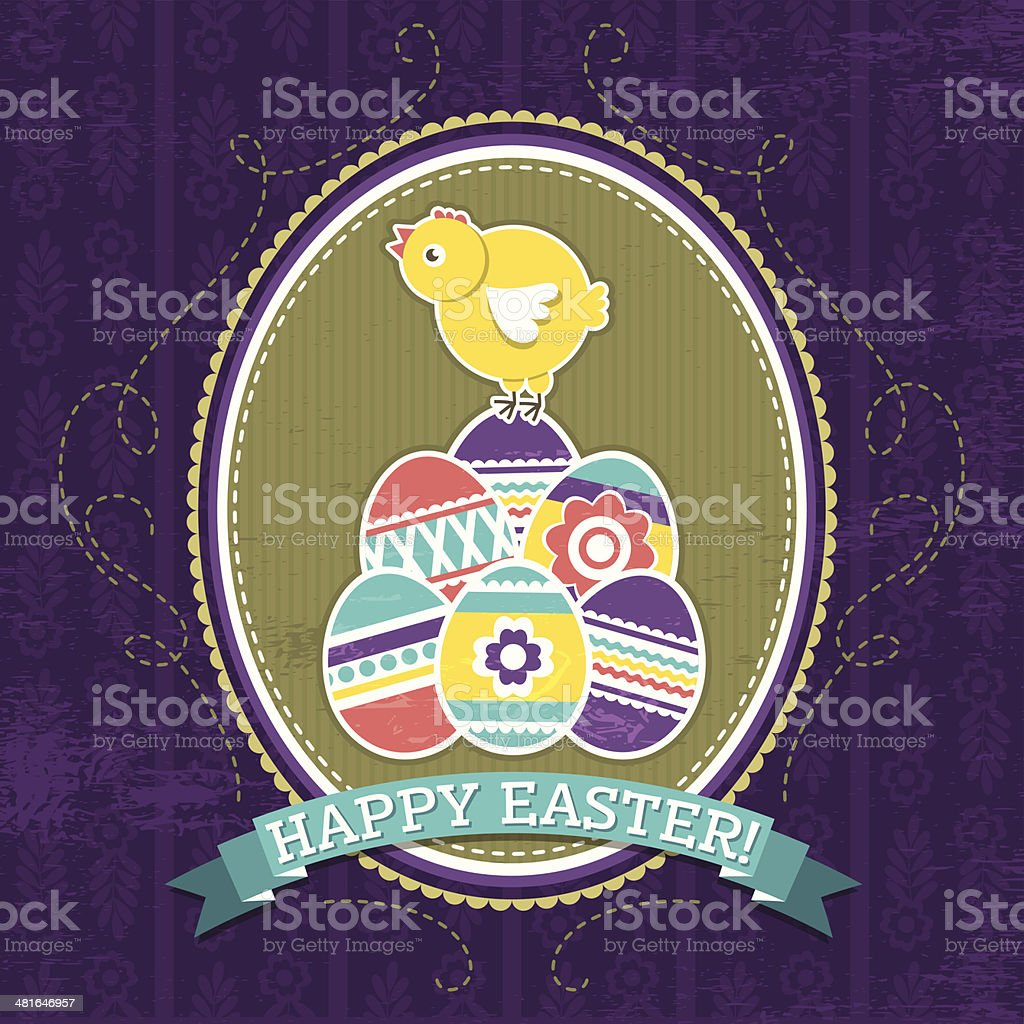 background with easter eggs and one chick royalty-free stock vector art