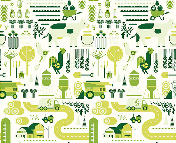 Background with farm silhouettes Background with farm silhouettes. ZIP includes large JPG (CMYK) PNG with transparent background. crop plant stock illustrations