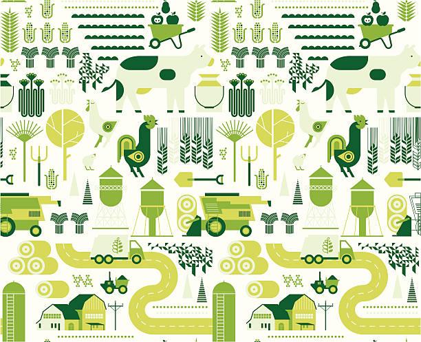 ilustrações, clipart, desenhos animados e ícones de fundo com silhuetas de fazenda - corn farm