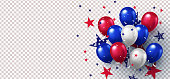 Background with festive realistic balloons with ribbon in national colors of the american flag and with stars pattern isolated on background. USA greeting banner for sale, discount, advertisement, web
