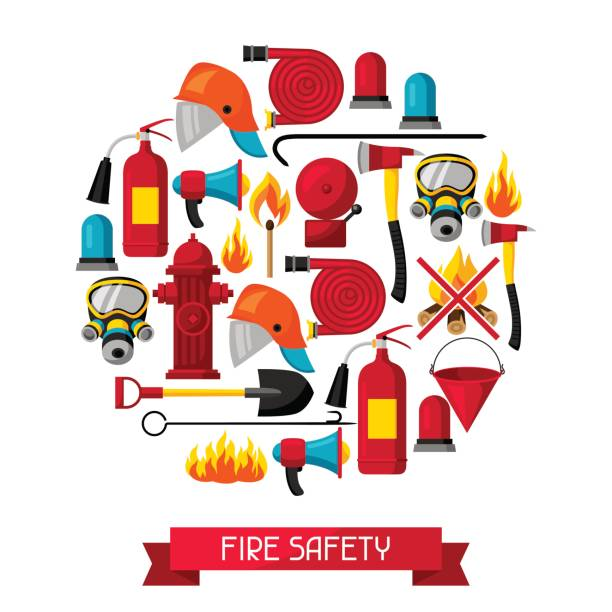 Background with firefighting items. Fire protection equipment Background with firefighting items. Fire protection equipment. fire hose stock illustrations