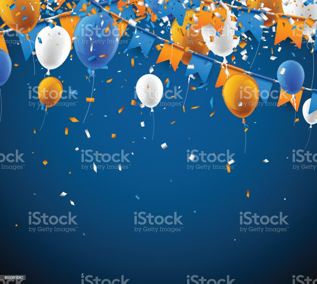 Background with flags and balloons. vector art illustration
