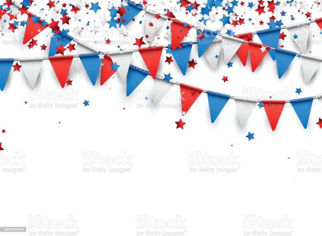 Fondo con banderas y estrellas. - arte vectorial de Azul libre de derechos