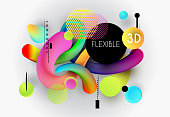 background with flexible abstract 3d forms for design of flyer, banner, poster, cover, etc.