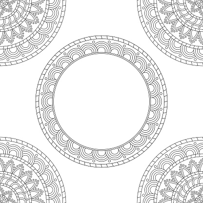 Background with floral mandalas, coloring book, vector illustration