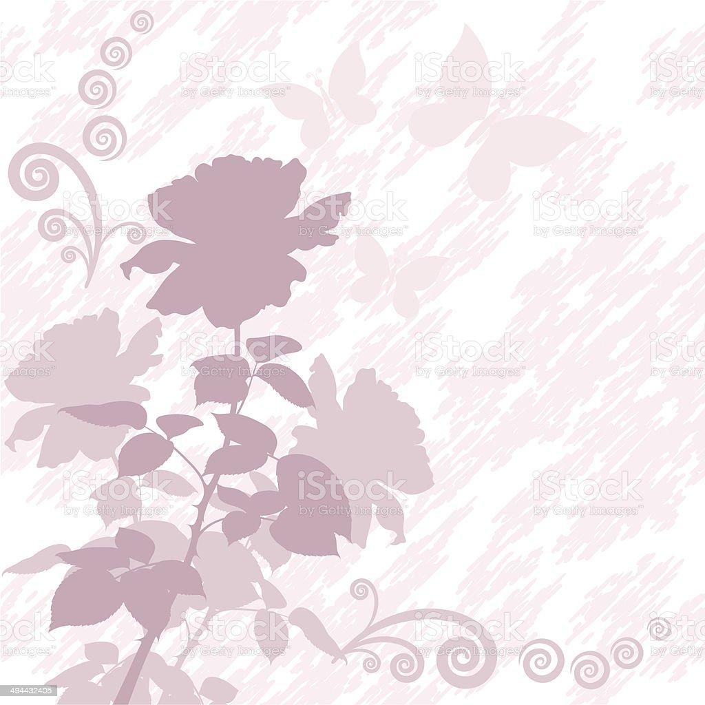 Sfondo Con Fiori E Farfalle Rosa Silhouette Immagini Vettoriali