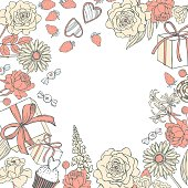 Vector background with flowers and gifts for Valentine's day. Sketch illustrarion