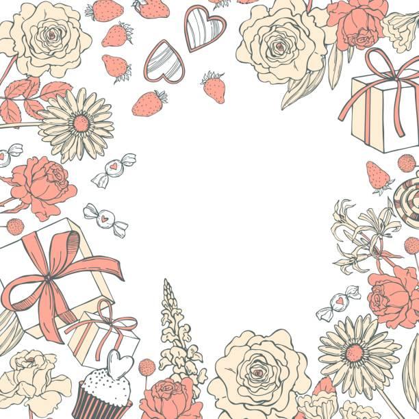 ilustrações, clipart, desenhos animados e ícones de fundo com flores e presentes para o dia do valentim. - conceitos e temas