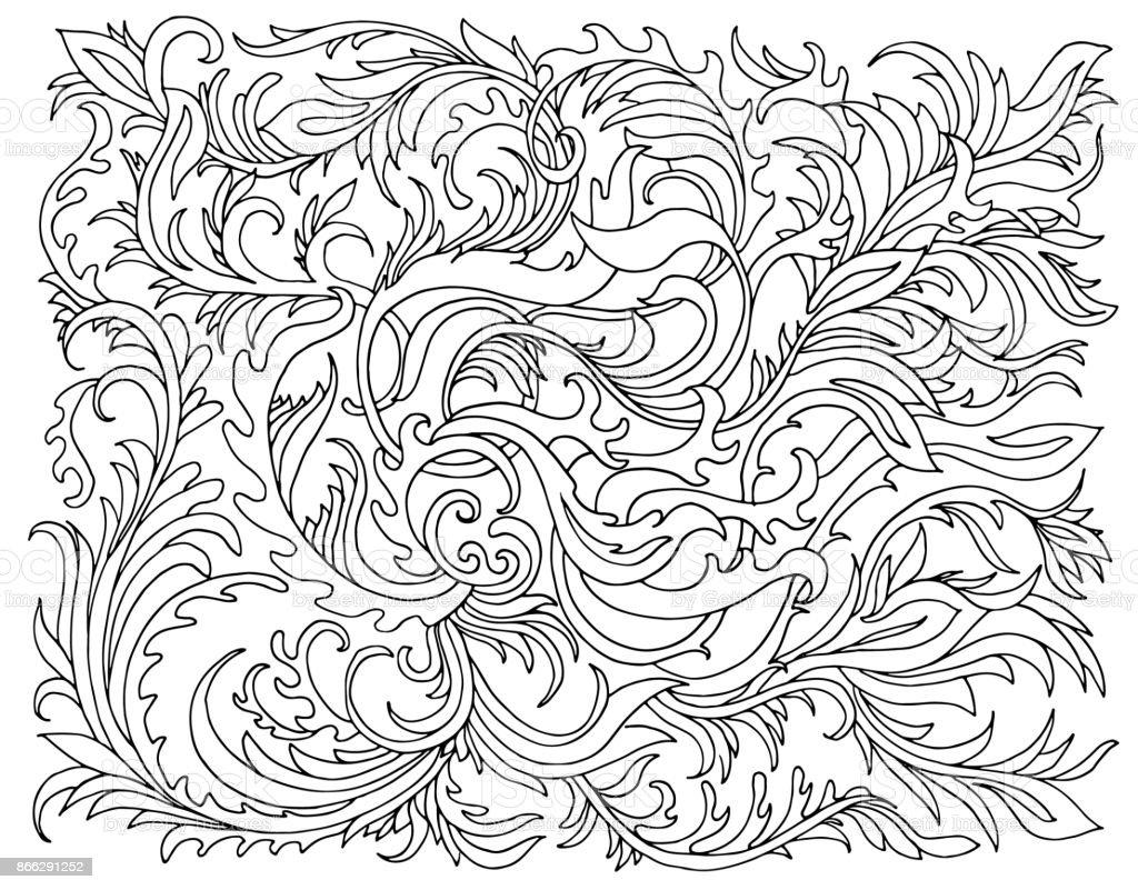 Fondo Con Flores Y Plantas Ilustración De Vector De Doodle De Blanco ...