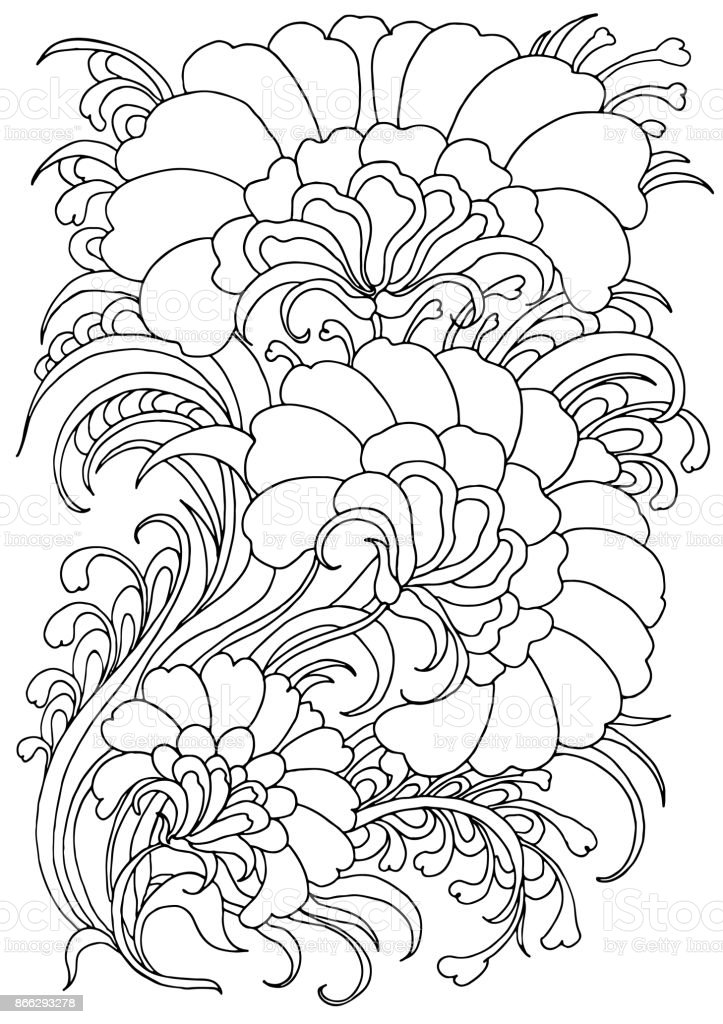 Kleurplaten Bloemen En Planten.Achtergrond Met Bloemen En Planten Zwartwit Doodle Vectorillustratie