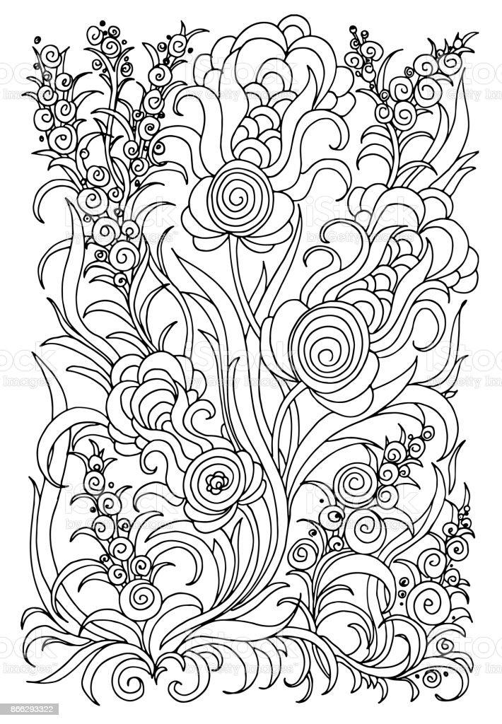 Ilustración de Fondo Con Flores Y Plantas Ilustración De Vector De ...