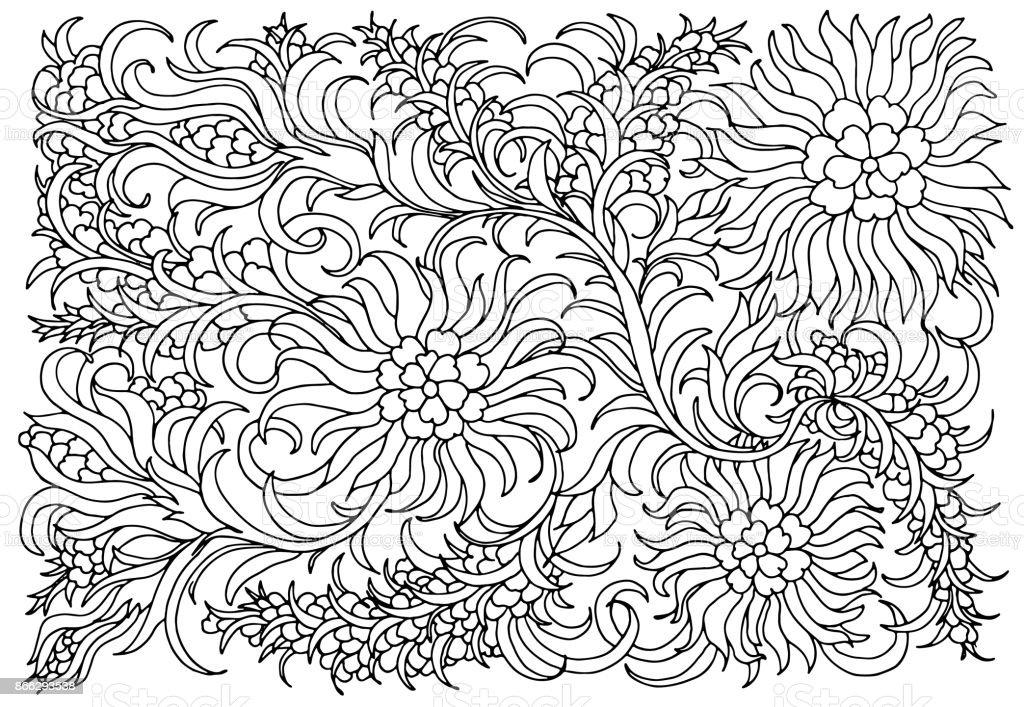 Cicekler Ve Bitkiler Ile Arka Plan Siyah Ve Beyaz Doodle Vektor