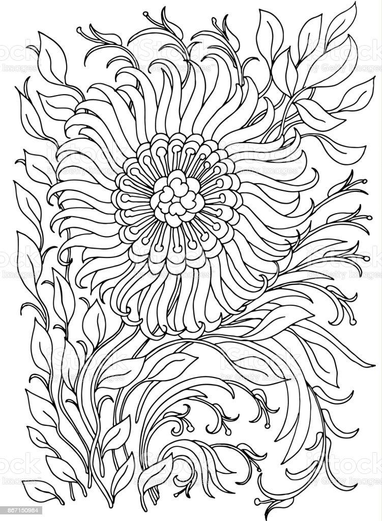 Kleurplaten Bloemen En Planten.Achtergrond Met Bloemen En Planten Zwartwit Doodle