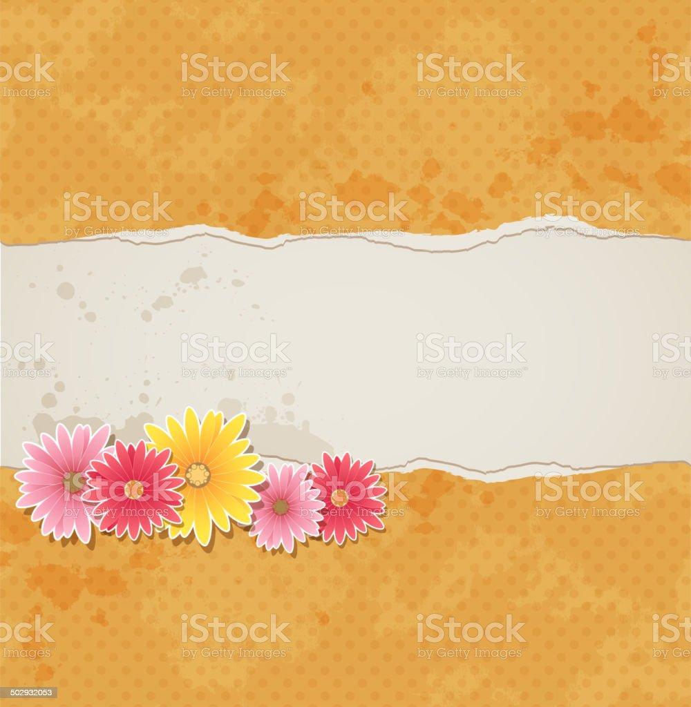 Background with flowers and torn paper royalty-free stock vector art