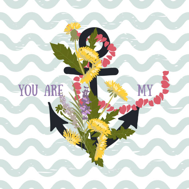 Background with flowers Dandelion and anchor Vector background with flowers Dandelion and anchor nautical tattoos stock illustrations