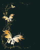 Abstract black background with golden flying butterflies. Vector frame for graphic design, label, badge. Empty space for text.