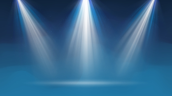 Background with fog spotlight. Illuminated blue smoky scene. Background for displaying products. Bright beams of spotlights, shimmering glittering particles, a spot of light. Vector illustration