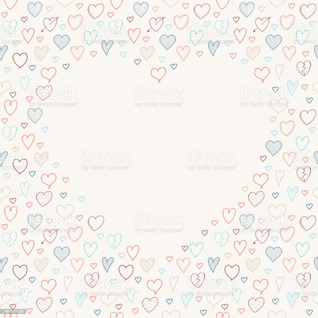 background with frame made of hand drawn hearts template of card for