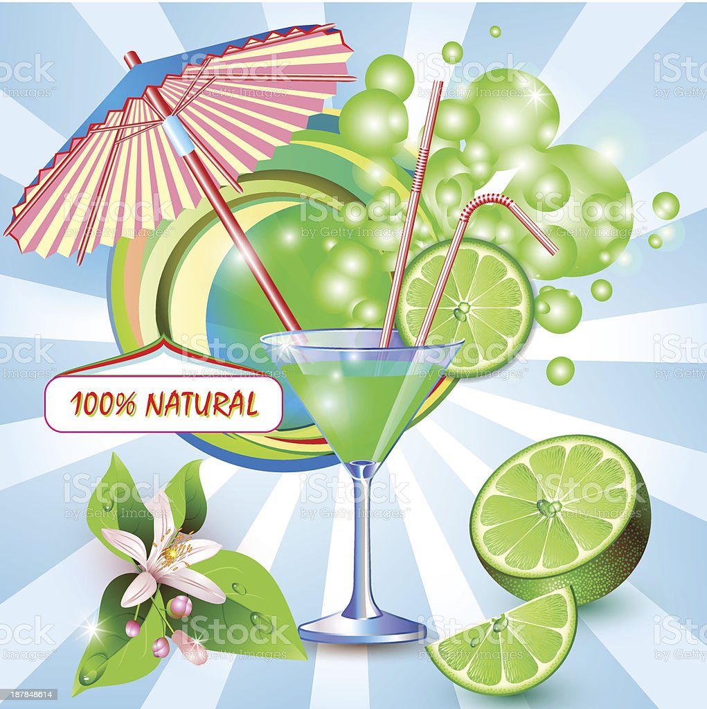 Background with fresh lime juice and umbrella royalty-free background with fresh lime juice and umbrella stock vector art & more images of abstract