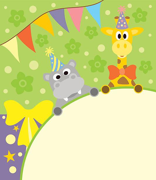 Открытки, с днем рождения картинка с жирафом и бегимотом