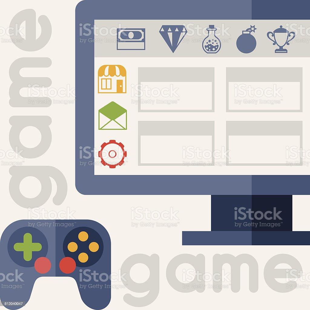 ゲームの背景にアイコンとフラットなデザインスタイルです のイラスト