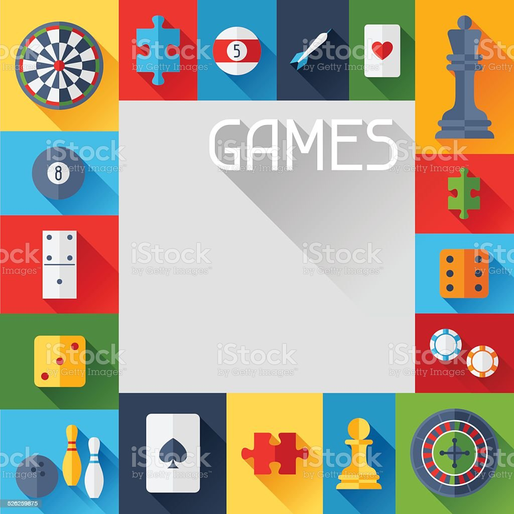 Background with game icons in flat design style.向量藝術插圖