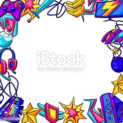 istock Background with gaming items. Cyber sports, computer games, fun recreation. 1312347688
