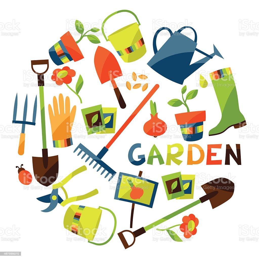 背景庭園のデザイン要素とアイコン ベクターアートイラスト