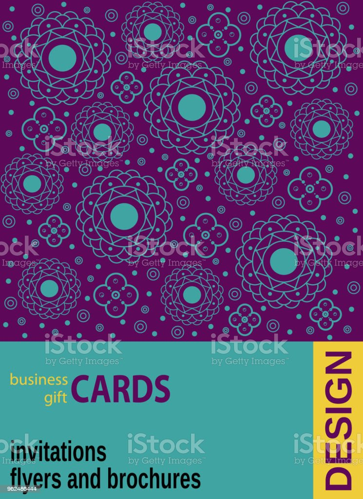 background with geometric flowers business cards flyers stock vector