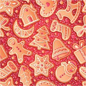 Seamless red background with Christmas gingerbreads, vector illustration