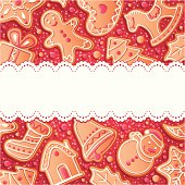 Red Christmas background with gingerbreads, vector illustration