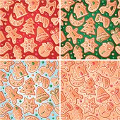 Seamless backgrounds with Christmas gingerbreads. Four versions of color, vector illustration